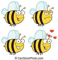 Bee Cartoon Mascot Character Collection - 1