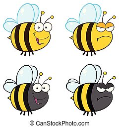 Bee Cartoon Mascot Character Collection - 3