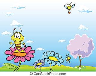 bee cartoon sitting on flower