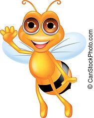 Bee cartoon waving