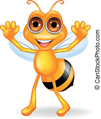 Bee cartoon waving
