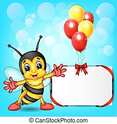 Bee cartoon with baloon - illustration of cute bee cartoon...