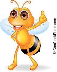 Bee cartoon with thumb up