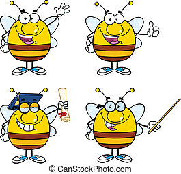 Bee Characters Set Collection 1 - Bee Cartoon Mascot...