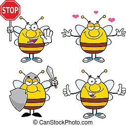 Bee Characters Set Collection 6 - Bee Cartoon Mascot...