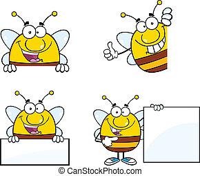 Bee Characters Set Collection 7 - Bee Cartoon Mascot...