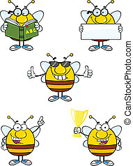 Bee Characters Set Collection 8 - Bee Cartoon Mascot...
