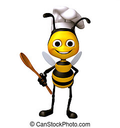 Bee chef with food spoon - 3d render bee illustration...