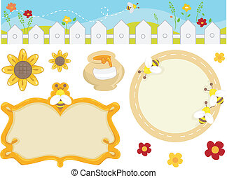 Illustration Featuring Bee Related Design Elements including a Border and Frames