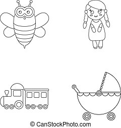 Bee, doll, train, stroller.Toys set collection icons in outline style vector symbol stock illustration web.