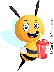 Bee drinking juice, smiling, illustration, vector on white background.