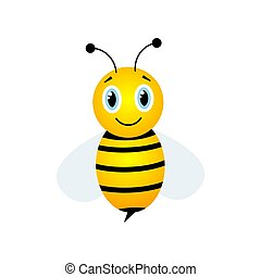 Bee flat character. Cute flying bee isolated on white. Vector cartoon illustration.