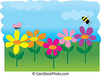Bee Flowers - A bee and a butterfly in a spring garden