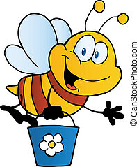 Bee Waving And Flying With A Bucket