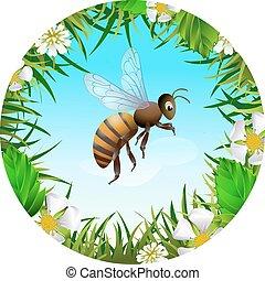 Bee flying in the sky