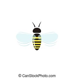 Bee flying vector icon isolated on white background