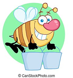 Bee Flying With A Buckets