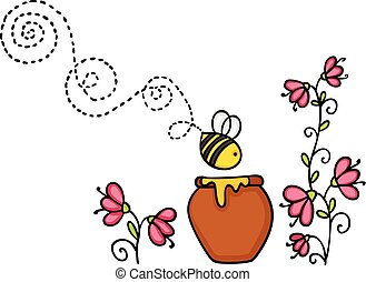 Bee flying with honey pot and flower