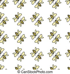 Bee friends talking to each other seamless vector repeat on white background