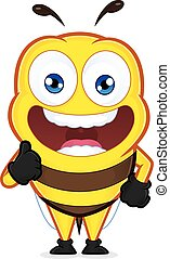 Bee giving thumbs up - Clipart picture of a bee cartoon...