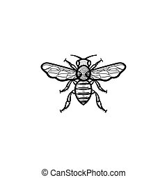 Bee hand drawn sketch icon.