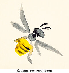 bee hand painted on cream colored paper - training drawing...