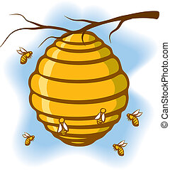 An Illustration of a beehive suspended from a tree with bees around it