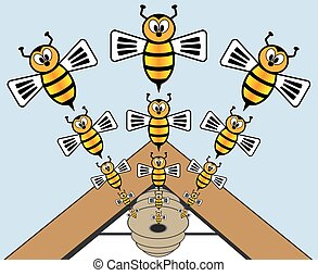 Bees are making an exit from their hive