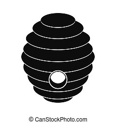 Bee hive black simple icon isolated on white background