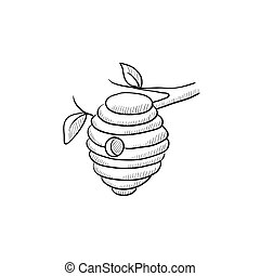 Bee hive sketch icon. - Bee hive sketch icon for web, mobile...