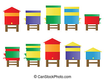 Bee hive vector background set for poster