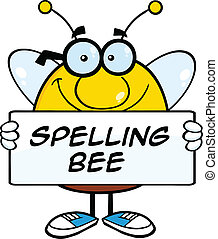 Bee Holding A Banner With Text - Smiling Pudgy Bee Cartoon...