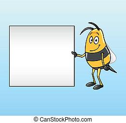 Bee holding a blank board