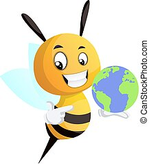 Bee holding a globe, illustration, vector on white background.