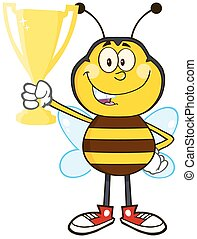 Bee Holding A Golden Trophy