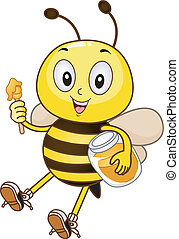 Bee Holding a Jar of Honey - Mascot Illustration of a Bee...