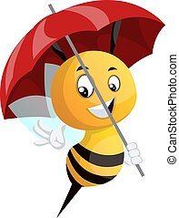 Bee holding umbrella, illustration, vector on white background.