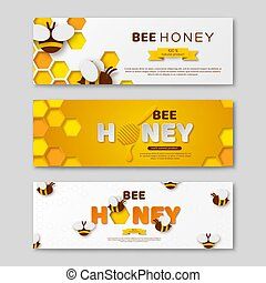 Bee honey horizontal banners with paper cut style letters,...