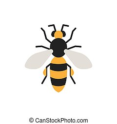 Bee honey insect single flat color vector icon