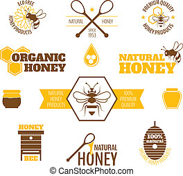 Bee honey label colored - Bee honey natural organic products...
