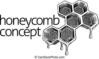 Bee Honeycomb Dripping with Honey Concept