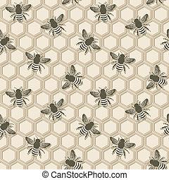 bee honeycomb pattern - vector illustration. eps 8