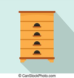 Bee house icon, flat style
