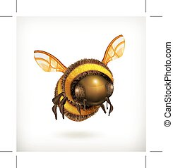 Bee icon - Bee illustration icon, isolated on white ...