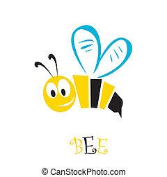 bee icon. cartoon cute bright baby bee. vector illustration.