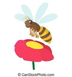 Bee icon, cartoon style