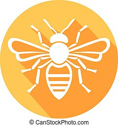bee icon flat icon (honey bee)