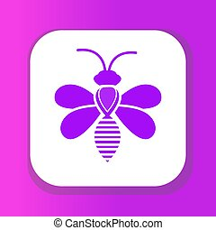 bee icon, flat style. Isolated on white background. Vector illustration, clip-art