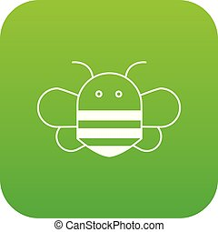 Bee icon green vector