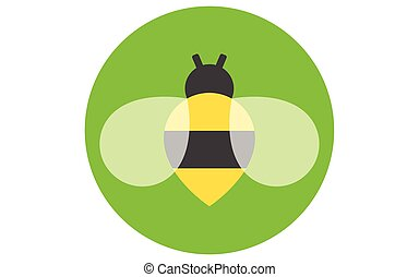 Bee icon isolated on green background. Honey flying bee. Insect. Flat style vector illustration.